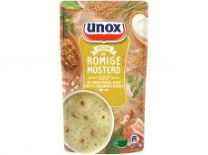 Soep in zak romige mosterdsoep product foto