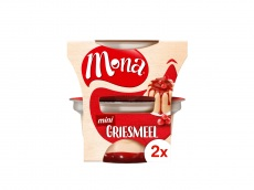 Griesmeelpudding met saus product foto