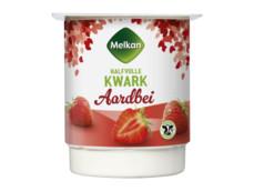 Halfvolle aardbeien kwark product foto