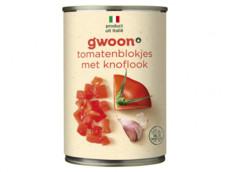 Tomatenblokjes knoflook product foto