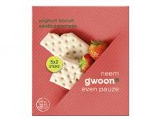 Yoghurt fruitbiscuit aardbei product foto