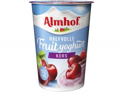 Halfvolle yoghurt kers product foto