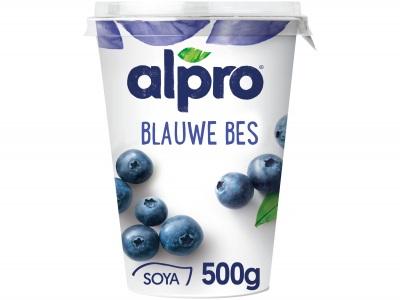 Plantaardige variatie op yoghurt blauwe bes product foto