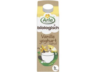 Biologische halfvolle vanilleyoghurt product foto