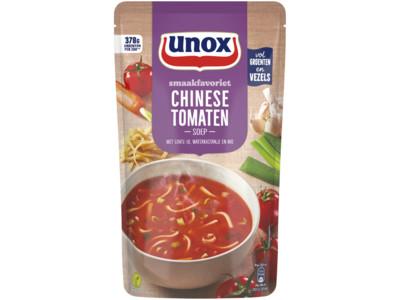 Soep in zak Chinese tomatensoep met lente-ui product foto