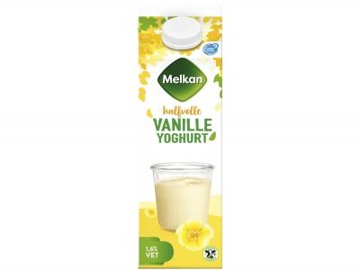 Halfvolle vanille yoghurt product foto