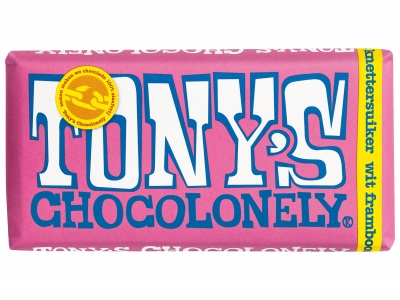 Chocolonely wit framboos knettersuiker product foto