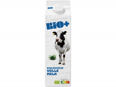 Biologische volle melk product foto
